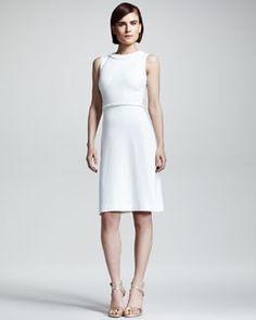 B20XW Valentino White Braid-Trim Cady Dress