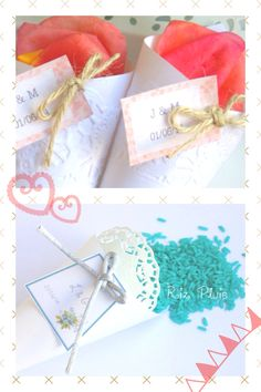 Para una boda que te parecen estas ideas, conos con pétalos de flores o arroz del color de tu elección
