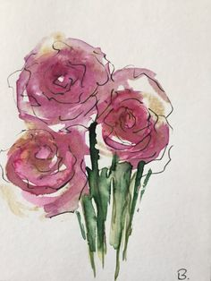 ORIGINAL AQUARELL Aquarellpostkarte Blumen Rosen abstrakt Kunst Art Watercolor abstract painting von GalerieSilberschatz auf Etsy https://www.etsy.com/de/listing/565805398/original-aquarell-aquarellpostkarte