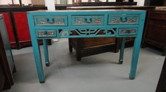 Antique-Asian Inspired Console Table Blue with Gold Trim