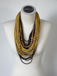 Upcycled t-shirts scarf: Wooden beads with brown and by StripsUp
