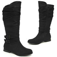 LADIES BIKER BOOTS NEW WOMENS RIDING WESTERN FLAT MID CALF WINTER ZIP SHOES SIZE