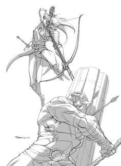 LOOK AT THIS. LOOK AT THIS EPICNESS. @_@ Legolas vs Azog by samliu.deviantart.com on @deviantART