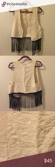 Show Me Your Mumu tapestry fringe vest Show Me Your Mumu black and white fringe tapestry vest size medium Show Me Your MuMu Jackets & Coats Vests