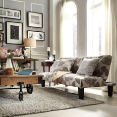 HomeSullivan Galindo Grey Floral Fabric Futon in Grey-40922F40 at The Home Depot