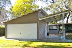 Allshed Solutions Adelaide Hills Sheds - Skillion Roof Shed Curved Pergola, Pergola Ideas, Pergola Kits, Pergola Shade, Steel Pergola, Backyard Ideas, Garden Ideas, Flat Roof Shed, Arquitetura