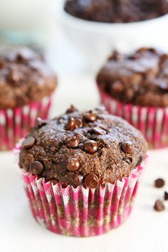 Vegan Chocolate Banana Muffins - delicious, made exactly as is, and the preschooler LOVED them!