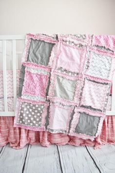 Baby Girl Crib Rag Quilt - Baby Pink / Gray Nursery - Crib Bedding - A Vision to Remember #babygirlnursery #shabbychicnursery #floralnursery #cribbedding