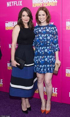 Stylish duo: Showrunner Tina Fey and actress Ellie Kemper were all smiles at the premiere ...