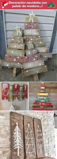 Decoración navideña con palets de madera. Decoración de Navidad con tarimas de madera. Decoración navideña rústica.