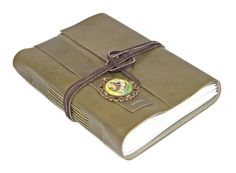 Olive Green Leather Journal with Heart Cameo Bookmark - Ready to Ship -