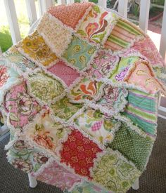 Baby Rag Quilt  All Natural Shabby Modern Fresh by PeppersAttic, on Etsy