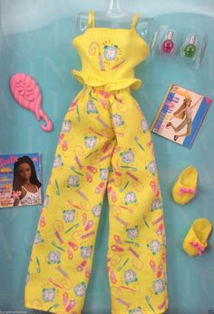 Barbie Fashion Avenue Morning Glory Fashion Yellow Pajama Ensemble Slippers | eBay