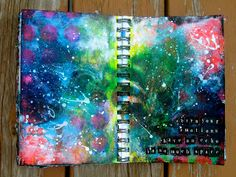 Art journal page...  Reminds me of the night sky and the milky way