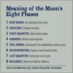 """Agree with all EXCEPT the information on #6-8 is incorrect. This waning moon phases should be used for releasing and removal on blocks and negativity, and the """"seeding"""" for the next cycle should be done on the Dark Moon, with the intention beginning with the first crescent."""