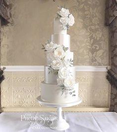 Wedding Cakes With Cupcakes, White Wedding Cakes, Elegant Wedding Cakes, Wedding Cakes With Flowers, Cool Wedding Cakes, Beautiful Wedding Cakes, Wedding Cake Designs, Huge Cake, Sugar Flowers