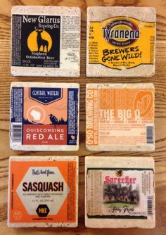 How to make coasters from beer, whiskey, or other labels.