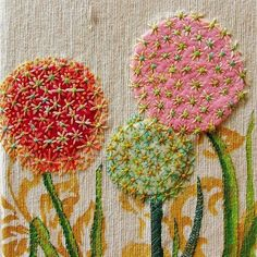stitchingsanity:  Allium Flora embroidered journal cover. | Fabrics and threads.