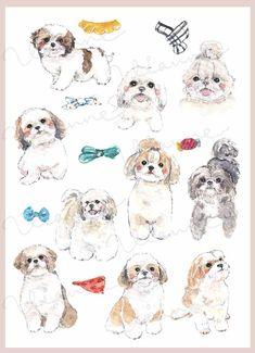 Cartoon Dog, Cartoon Drawings, Animal Drawings, Cute Drawings, Perro Shih Tzu, Shih Tzu Dog, Shih Tzus, Watercolor Rug, Tilda Toy