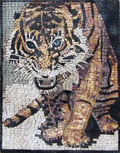 Wild Tiger Design - Tiger Mosaic Mural - Animal-Mosaic Patterns - Animal Mosaic-designs - Tiger Mosaic - Wild Art | #Mozaico
