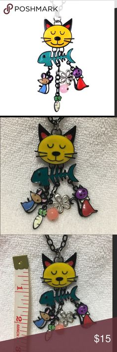 """New cat & charm necklace Bonsny Long Chain Colorful  French Cat Necklace Enamel Pendant Fish Alloy Charm Brand Jewelry For Women Girl  New Animal super cute and 30"""" and 3"""" size Jewelry Necklaces"""