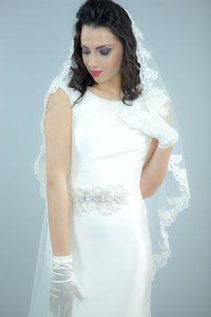 Voal de mireasa Anabell by SelfEvents, SelfEvents. One Shoulder Wedding Dress, Ivory, Satin, Wedding Dresses, Wedding Ideas, Floral, Fashion, Shelf, Bride Dresses