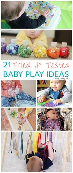 Arty Crafty Kids Play 21 Awesome Baby Play Ideas A collection of fun engaging and sensory play ideas for babies Baby Sensory Play, Baby Play, Baby Kids, Sensory For Babies, Baby Sensory Ideas 3 Months, Baby Sensory Board, Infant Activities, Activities For Kids, Baby Room Activities