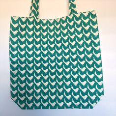 Teal with Birds and Little Hearts Shopping Bags, Fabulous Fabrics, Teal, Hearts, Birds, Sewing, Pattern, Accessories, Collection