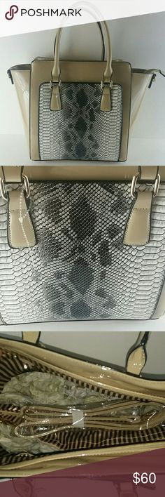 CHRISTMAS SALE Snake Print Patent Leather Bag NWT Brand new with tag Faux Snake Print Patent Leather Handbag with shoulder strap. Main color is a creamish kind of color and the faux snake print is different hues of gray. Bags Shoulder Bags