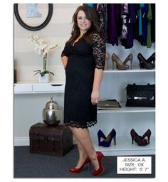 Real Curves Cutie, Jessica A. takes a classic lace LBD and vamps it up with red patent heels and an in your face cocktail ring. Patent Heels, Red Heels, Gorgeous Women, Beautiful, Real Women, Lbd, Dresses Online, Plus Size Fashion, Lace Dress