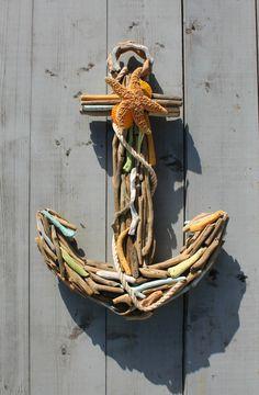 Driftwood Seashell Anchor/Nautical Home van MyHoneypickles op Etsy, $87.00