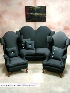 Restored Bespoke 1920's Gothic Suite to Black Calico by Vintage57,