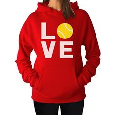 Love Tennis - Gift Idea for Tennis Fan / Tennis Player Cool Women Hoodie Medium Red *** Check out the image by visiting the link.