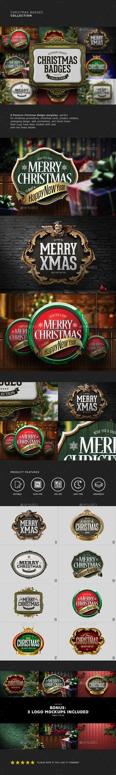 Christmas Badges Collection #design Download: http://graphicriver.net/item/christmas-badges-collection/13917431?ref=ksioks