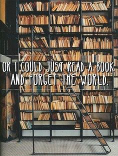 "(Source: czterokropek) ""or I could just read a book and forget the world"" [with a ginormous library in the background]"