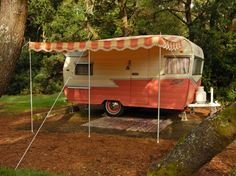 Beautiful pink 1959 Shasta Airflyte & matching 1955 Hudson Hornet For Sale   vintage camper - tiny trailer - classic caravan   great photos on site <O>