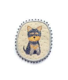 "Yorkshire Terrier Textile Brooch - ""Little Yorkie"""