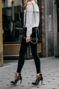 Fashion Jackson, Street Style, Off-the-Shoulder Striped Top, Black Ripped Skinny Jeans, Chloe Faye Handbag, Aquazzura Amazon Black Pumps