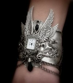 Gothic Steampunk Cuff Watch  Men Women Silver by LeBoudoirNoir