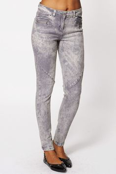 Acid Washed Grey Skinny Jeans Ex-Branded