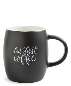 Letting everyone know the first priority with this chic matte black coffee mug featuring a coffee-centric statement.