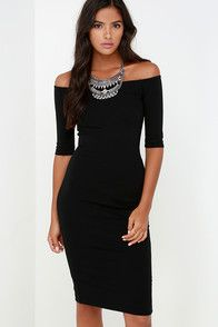 Lulus Exclusive! If being chic comes naturally, then that must be why you love the Girl Can't Help It Black Off-the-Shoulder Midi Dress! Medium-weight stretch knit offers a fitted look across an off-the-shoulder bodice with classic half sleeves. A bodycon fit enhances your hourglass shape down to a modest midi hem (with kick pleat at back). Hidden back zipper.