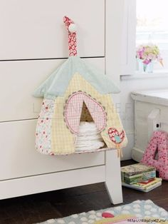 Sewing For Kids, Baby Sewing, Baby Decor, Nursery Decor, Girl Room, Baby Room, Diaper Holder, Kids Corner, Baby Kind