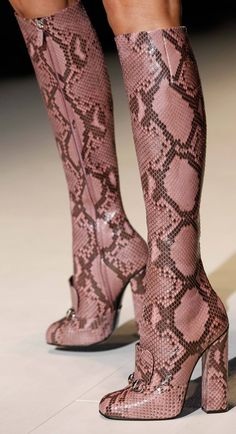 Fall 2014   Gucci designer - pink snake skin boots high heels fashion accessories