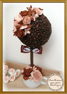 топиарий фото - Поиск в Google Cup Crafts, Diy And Crafts, Crafts For Kids, Coffee Bean Art, Styrofoam Crafts, Felt Cake, Flora Design, Chocolate Bouquet, Centerpiece Decorations