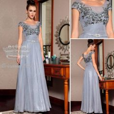 PINCESS KISS Elegant Grey Mother of Bride Dresses with Bead Embroidered Applique PK30852