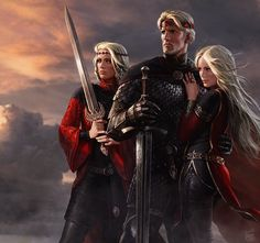 """""""Aegon and His Sisters"""" by Amok, famed illustrator of ASOIAF characters. Created for the Winter is Coming art show, this is his first work for ASOIAF since You can purchase a print here! Daenerys Game Of Thrones, Game Of Thrones Artwork, Game Of Throne Daenerys, Game Of Thrones Houses, Daenerys Targaryen, Game Of Thrones Rpg, Targaryen House, Armadura Viking, Sansa Stark"""