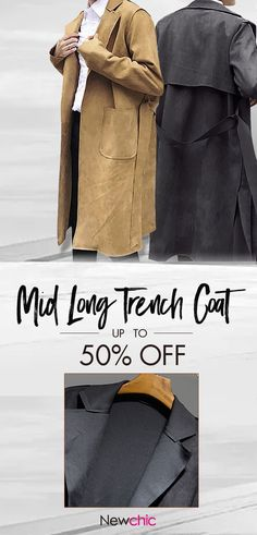 ade565638d Fashion Mid Long Faux Chamois Leather Trench Coat Outerwear Suede Jacket  for Men is cheap