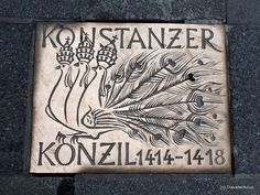 A plaque with a three-headed peacock seen in the streets of Constance (Konstanz). Why are three heads wearing a tiara each of them? At the beginning of the century, there were three popes in power at the same time. Third, Germany, Peacocks, Head Bands, Bathing, Peacock, Deutsch, Peacoats