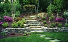 4 Resourceful Tricks: Backyard Garden Fruit Plants garden ideas for small spaces cottages.Backyard Garden Wedding Fun stone garden ideas how to make.Easy Backyard Garden Tips. Garden Retaining Wall, Landscaping Retaining Walls, Hillside Landscaping, Landscaping Ideas, Flagstone Walkway, Natural Landscaping, Stone Retaining Wall, Walkways, Sloped Yard